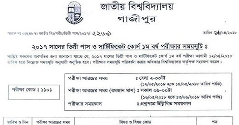 National University Degree 1st Year Exam Routine