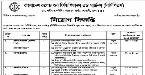 Bangladesh College of Physicians and Surgeons BCPS Job Circular
