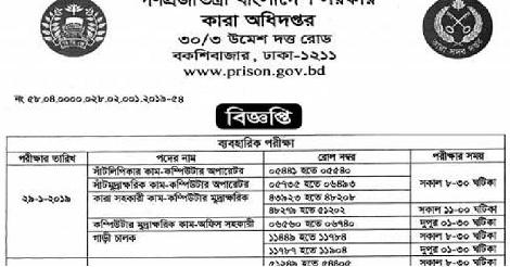Bangladesh Jail Job Circular 2019